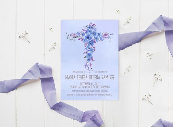 Watercolor flower cross baptism invitations for boys