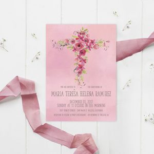 Watercolor flower cross baptism invitations for girls