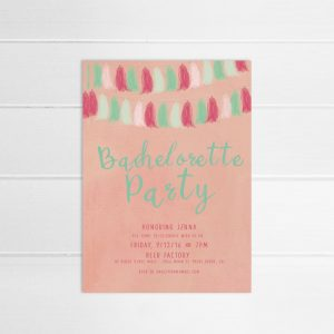 Coral pink & mint tassel garland bachelorette party invitations