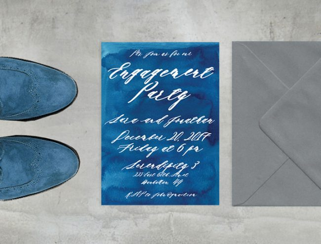 Indigo Watercolor Engagement Party Invitations