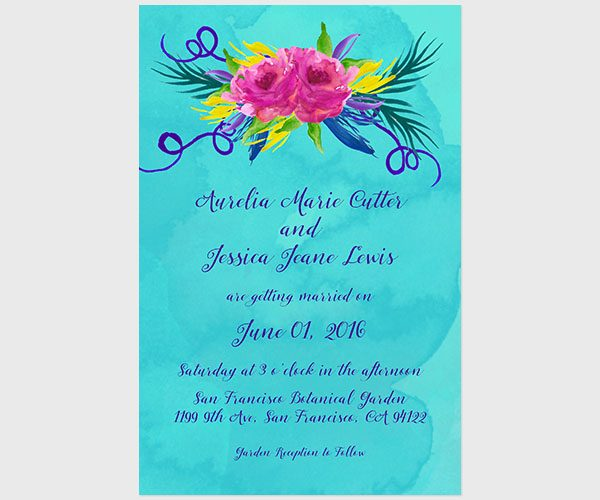 THE AURELIA - Love Wins Turquoise Wedding Invitations