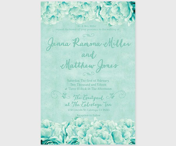 THE JESSIE - Shabby chic mint peonies wedding invitations