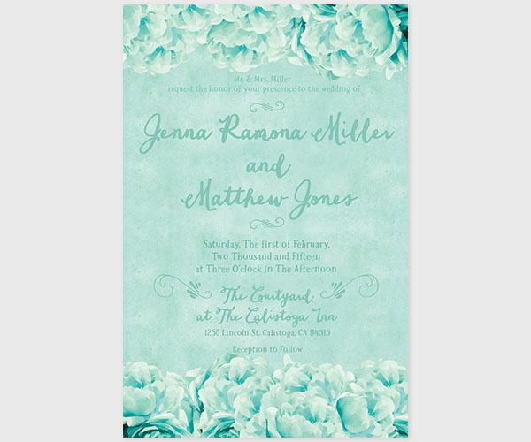 shabby chic mint peonies wedding invitations the jessie the