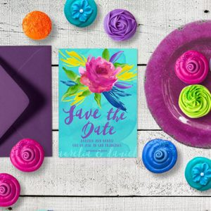 Colorful Watercolor Save the Date Cards