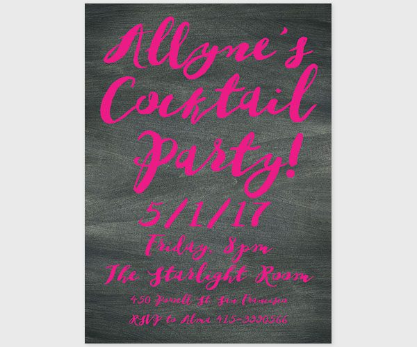 THE ALLYNE - Watercolor brush on chalkboard bachelorette party invitations