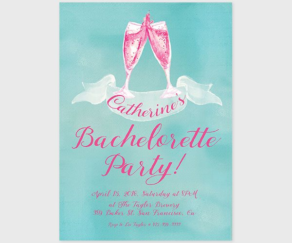 THE CATHERINE - Watercolor champagne bachelorette party invitations