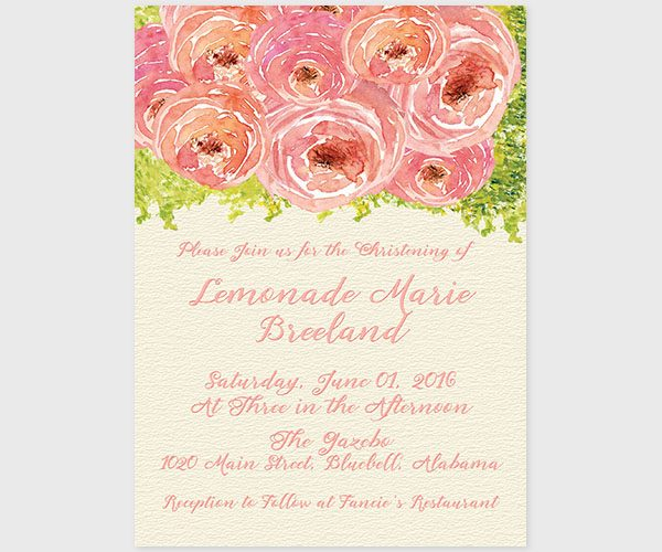 THE LEMON- Coral pink watercolor peonies baptism invitations