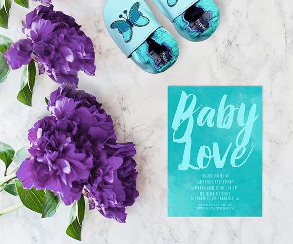Aqua watercolor brush baby shower invitations