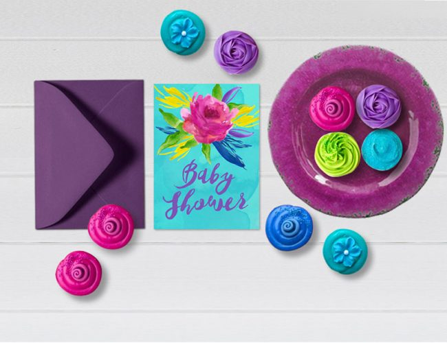 Colorful turquoise flowers baby shower invitations