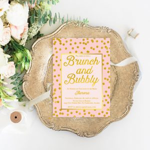 Blush & gold confetti bachelorette party invitations