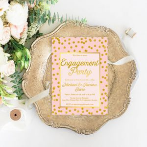Blush & Gold Engagement Party Invitations