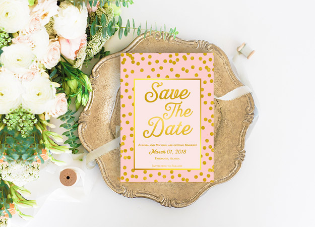 Blush & Gold Confetti Save the Date Cards
