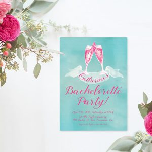 Watercolor champagne bachelorette party invitations