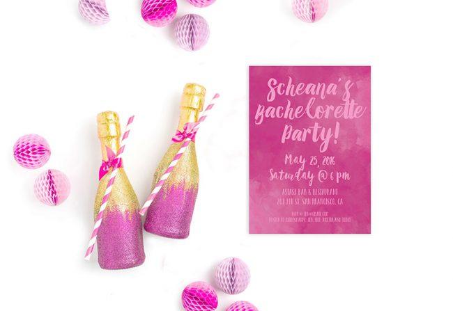 Fuchsia watercolor bachelorette party invitations