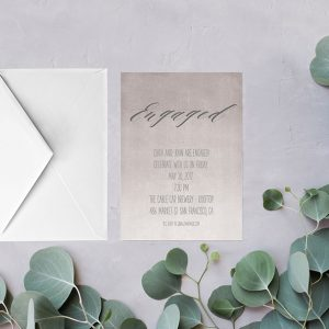grey calligraphy watercolor ombre engagement party invitations