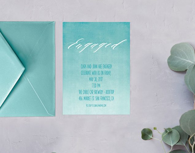Turquoise Watercolor Ombre Engagement Party Invitations