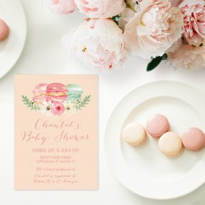 Macaron blush baby shower invitations