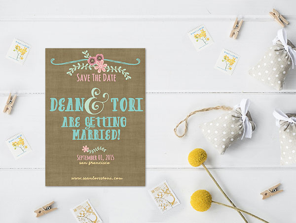 Whimsical aqua & coral pink save the date cards