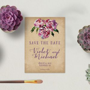 Wine country wedding plum save the date cards