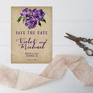 Rustic chic vineyard weddings violet save the date cards