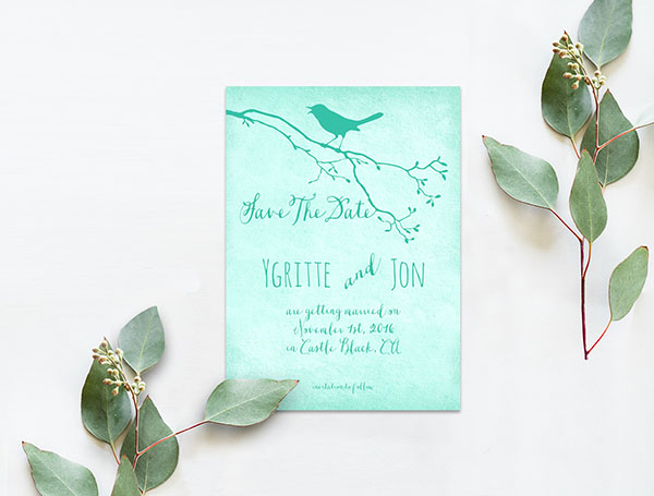 Mint bird on a tree branch save the date cards