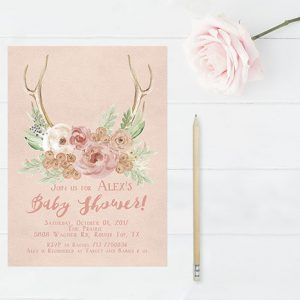Rustic chic antler blush baby shower invitations