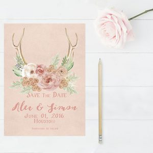 Peach rustic chic antlers with flowers save the date cards