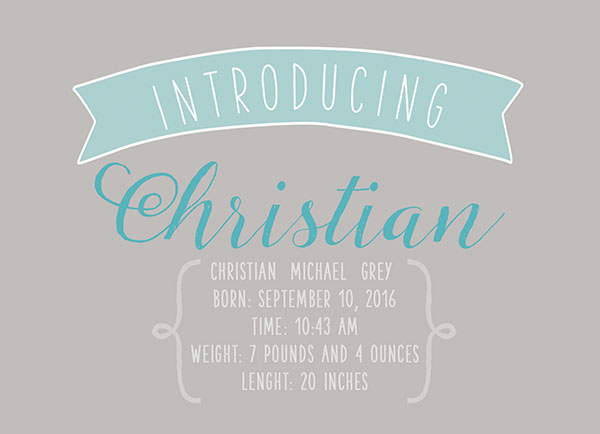 THE CHRISTIAN- Aqua & grey modern baby announcements