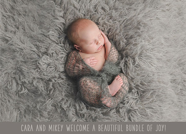 50 shades of grey modern baby announcements