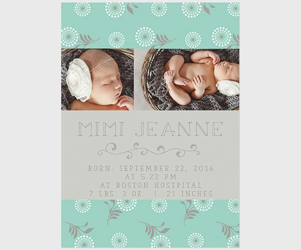 THE MIMI- Robin egg blue flower modern baby announcements