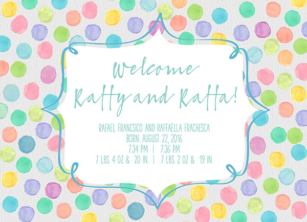 pastel polka dots twins birth announcements