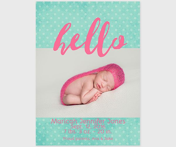 THE RICAH- Coral pink & mint polka dot baby announcements