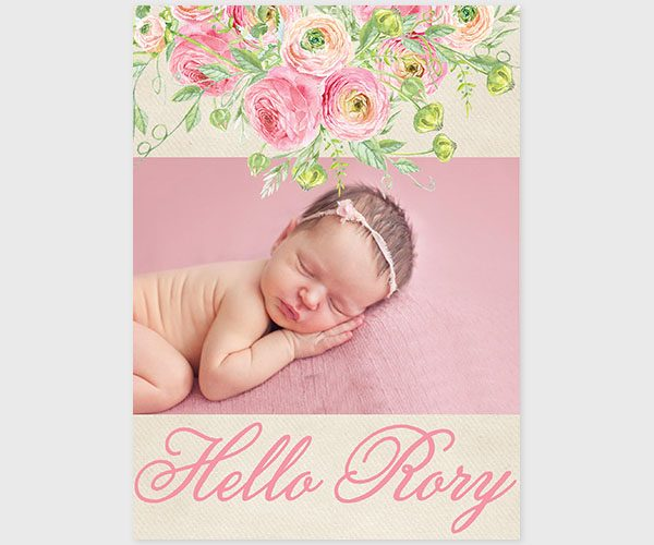 The Rory - coral pink watercolor ranunculus birth or baby announcements