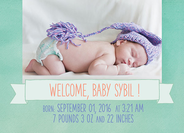 THE SYBIL- Shabby chic mint green birth announcements