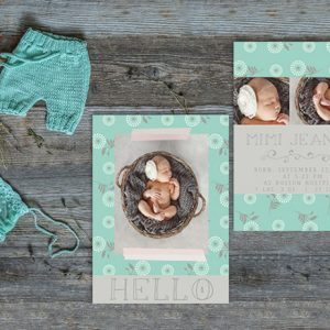 Robin egg blue flower modern baby announcements