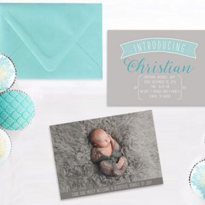 Aqua & grey modern baby announcements