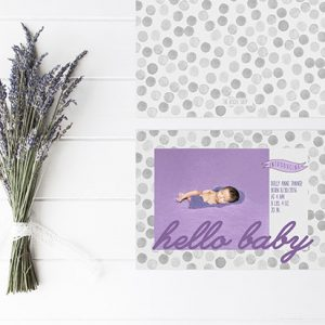 Grey watercolor polka dots baby announcements