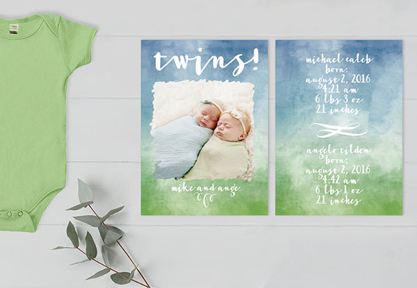 THE MICHAELANGELO- Watercolor ombre twins birth announcements