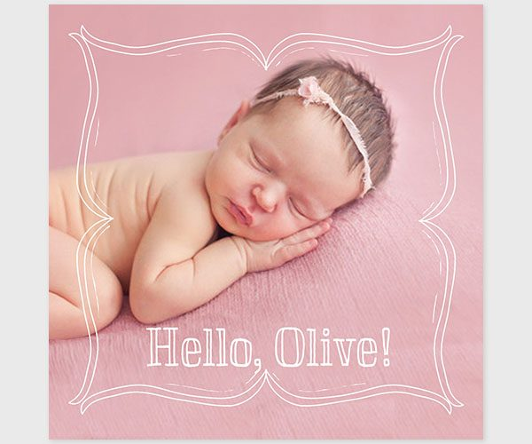 The Olive- Doodle border pink square baby announcements or birth announcements