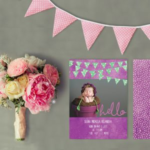 Purple polka dot bunting baby birth announcements