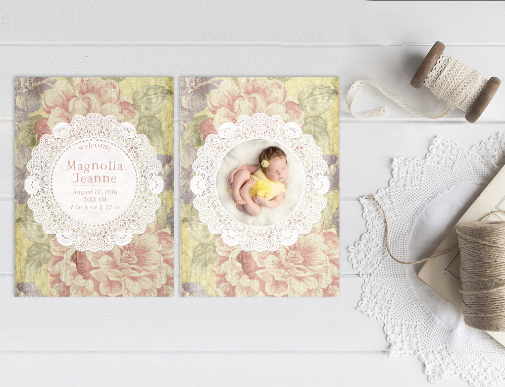 Vintage Yellow Flower Doily Baby Announcements The Magnolia The