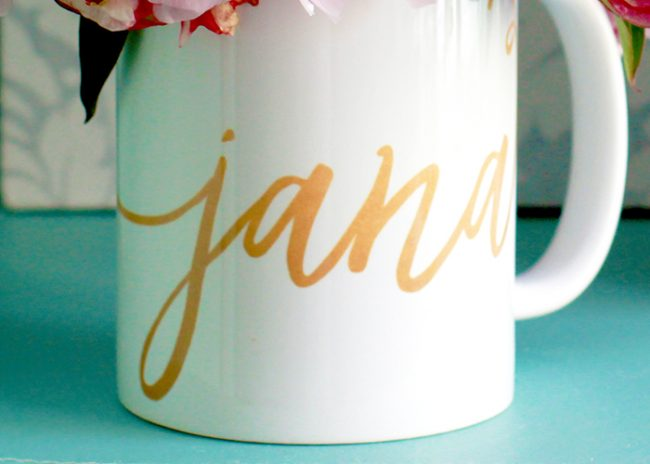 Custom Calligraphy Mug in Faux Gold Calligraphy