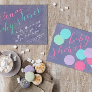 Pastel paper lanterns baby shower Invitations