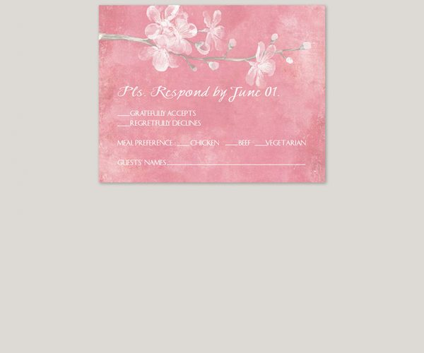 THE AIKO – Pink cherry blossom watercolor wedding invitations