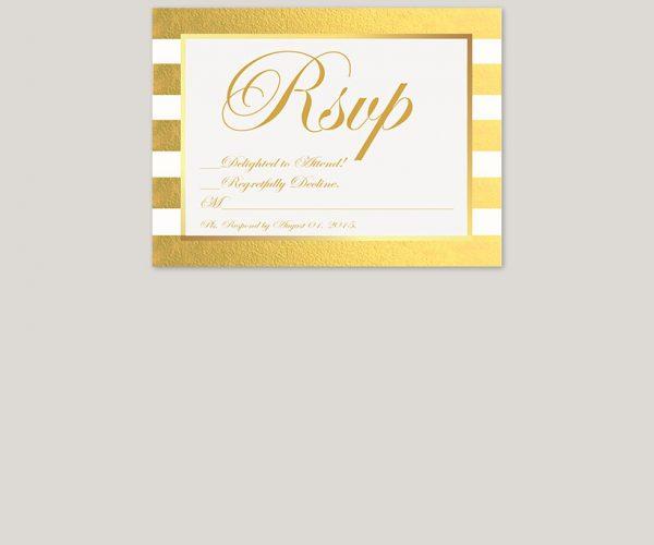 gold damasks and stripe wedding invitation