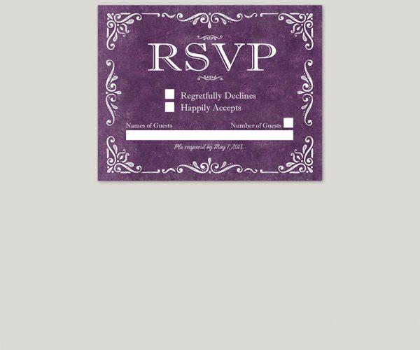 THE RACHEL - Vintage-style scrolls purple wedding invitations