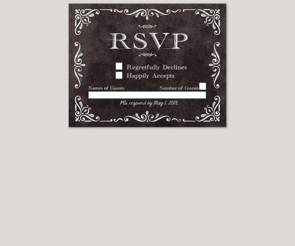 THE RACHEL - Black vintage-inspired wedding invitations