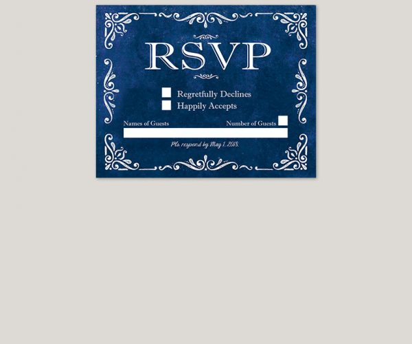 THE RACHEL - Vintage-inspired royal blue wedding invitations