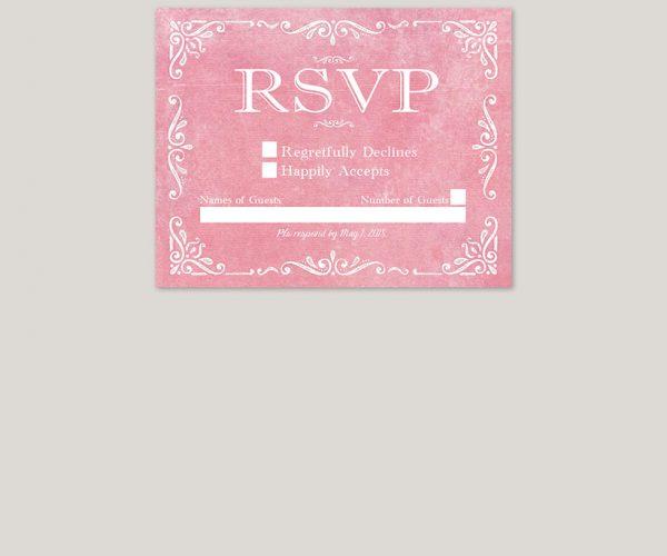 THE RACHEL - Vintage-inspired filigree coral pink wedding invitations