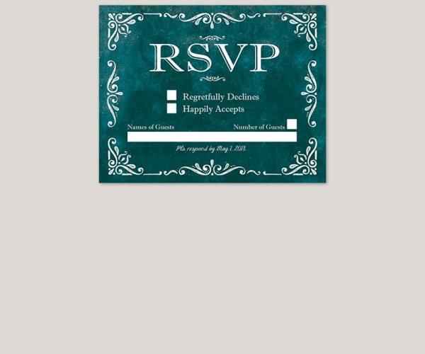 THE RACHEL – Vintage-style scrolls teal wedding invitations